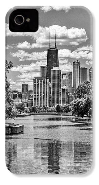 IPhone 4 Case featuring the painting Chicago Lincoln Park Lagoon Black And White by Christopher Arndt