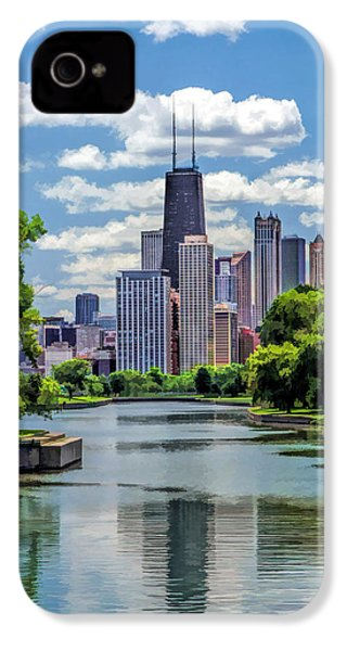 IPhone 4 Case featuring the painting Chicago Lincoln Park Lagoon by Christopher Arndt