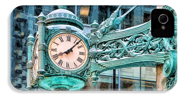 IPhone 4 Case featuring the painting Chicago Marshall Field State Street Clock by Christopher Arndt