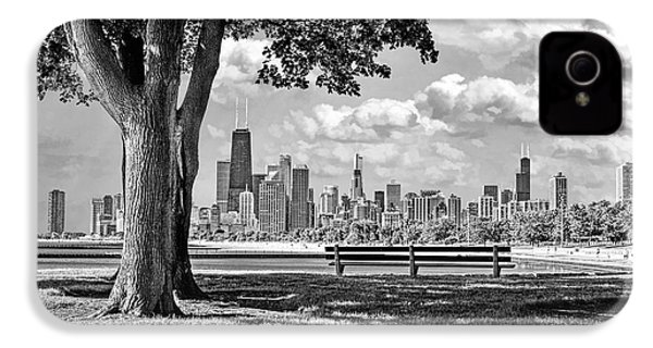 IPhone 4 Case featuring the photograph Chicago North Skyline Park Black And White by Christopher Arndt