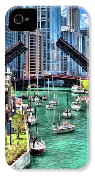IPhone 4 Case featuring the painting Chicago River Boat Migration by Christopher Arndt