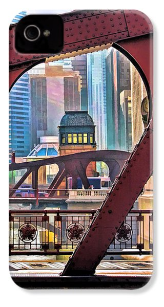 IPhone 4 Case featuring the painting Chicago River Bridge Framed by Christopher Arndt