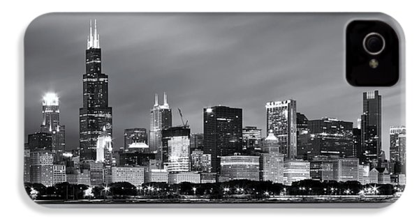 IPhone 4 Case featuring the photograph Chicago Skyline At Night Black And White  by Adam Romanowicz