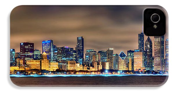 Chicago Skyline At Night Panorama Color 1 To 3 Ratio IPhone 4 Case by Jon Holiday