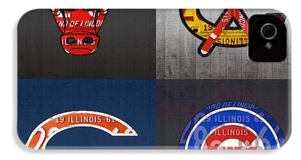 Chicago Sports Fan Recycled Vintage Illinois License Plate Art Bulls Blackhawks Bears And Cubs IPhone 4 Case by Design Turnpike