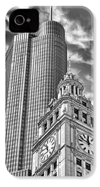 IPhone 4 Case featuring the photograph Chicago Trump And Wrigley Towers Black And White by Christopher Arndt