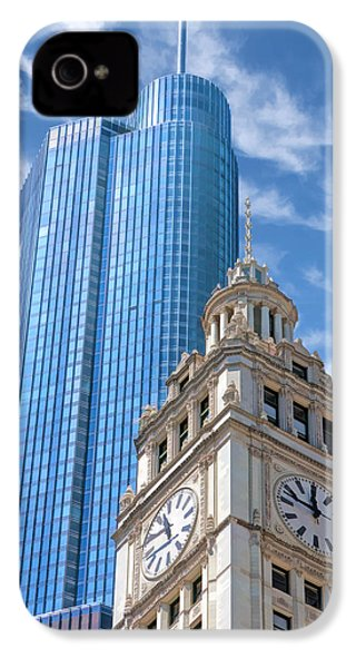 IPhone 4 Case featuring the painting Chicago Trump And Wrigley Towers by Christopher Arndt