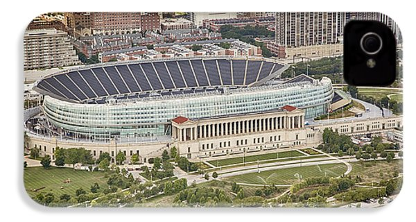 IPhone 4 Case featuring the photograph Chicago's Soldier Field Aerial by Adam Romanowicz