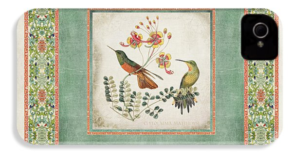 Chinoiserie Vintage Hummingbirds N Flowers 1 IPhone 4 Case