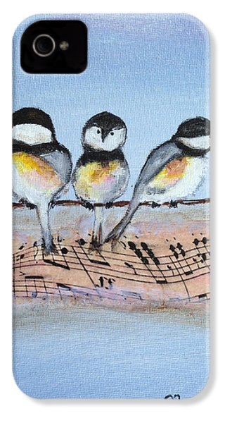 Chirpy Chickadees IPhone 4 Case by Roxy Rich