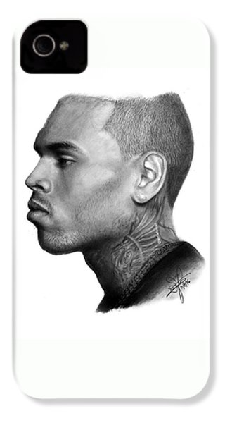 Chris Brown Drawing By Sofia Furniel IPhone 4 Case