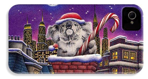 Christmas Koala In Chimney IPhone 4 / 4s Case by Remrov