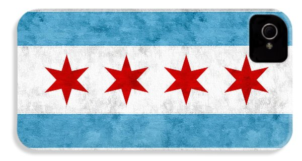 IPhone 4 Case featuring the mixed media City Of Chicago Flag by Christopher Arndt