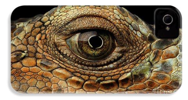 Closeup Eye Of Green Iguana, Looks Like A Dragon IPhone 4 Case by Sergey Taran
