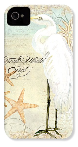 Coastal Waterways - Great White Egret 3 IPhone 4 Case by Audrey Jeanne Roberts