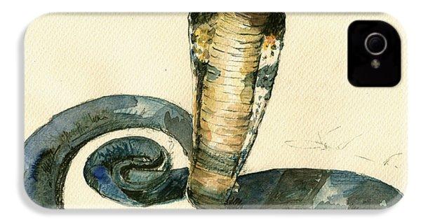 Cobra Snake Watercolor Painting Art Wall IPhone 4 Case by Juan  Bosco
