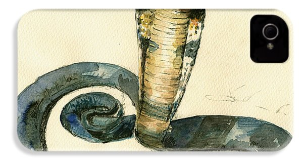 Cobra Snake Watercolor Painting Art Wall IPhone 4 Case by Juan  Bosco