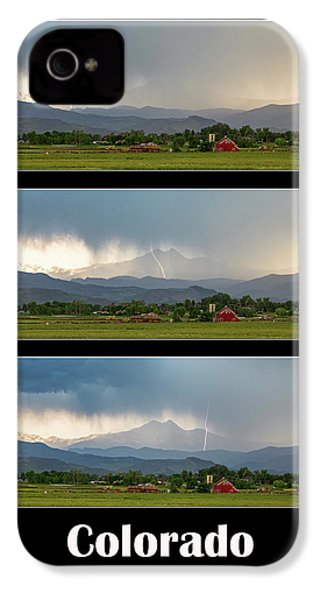 IPhone 4 Case featuring the photograph Colorado Front Range Longs Peak Lightning And Rain Poster by James BO Insogna