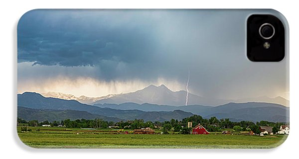 IPhone 4 Case featuring the photograph Colorado Rocky Mountain Red Barn Country Storm by James BO Insogna