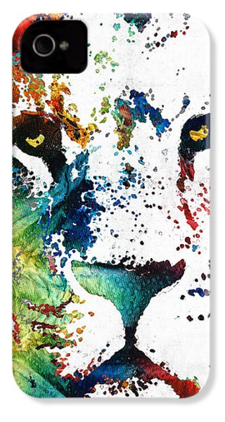Colorful Lion Art By Sharon Cummings IPhone 4 Case by Sharon Cummings