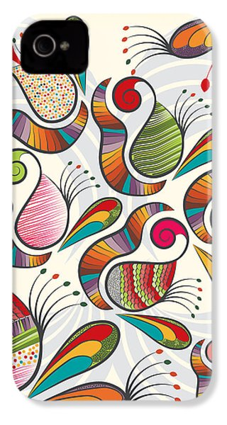 Colorful Paisley Pattern IPhone 4 Case by Famenxt DB