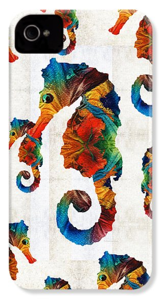 Colorful Seahorse Collage Art By Sharon Cummings IPhone 4 Case by Sharon Cummings