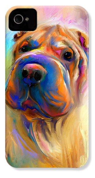 Colorful Shar Pei Dog Portrait Painting  IPhone 4 Case
