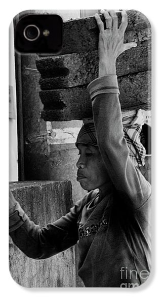 IPhone 4 Case featuring the photograph Construction Labourer - Bw by Werner Padarin