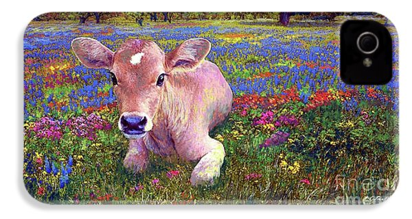 Contented Cow In Colorful Meadow IPhone 4 Case