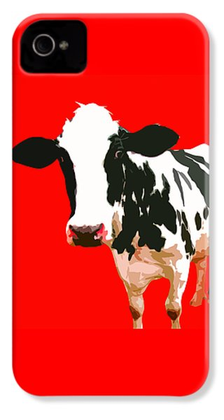Cow In Red World IPhone 4 Case by Peter Oconor