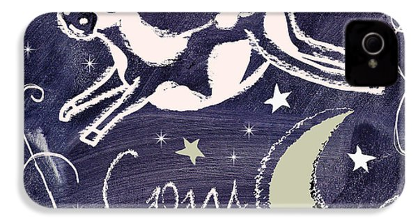 Cow Jumped Over The Moon Chalkboard Art IPhone 4 Case by Mindy Sommers