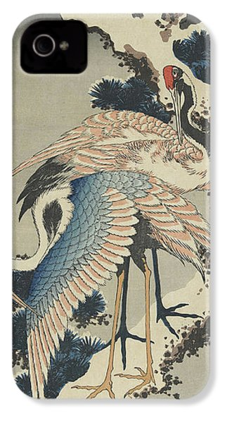 Cranes On Pine IPhone 4 Case by Hokusai