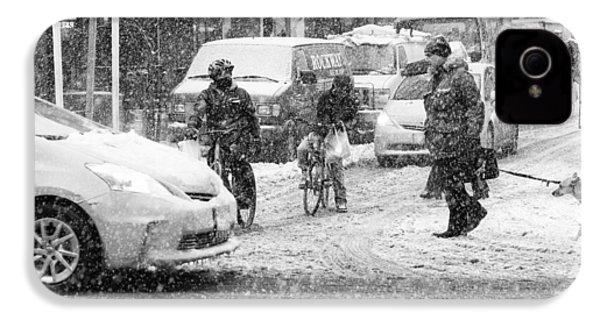 Crosswalk In Snow IPhone 4 Case by Dave Beckerman