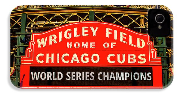 Cubs Win World Series IPhone 4 Case by Andrew Soundarajan