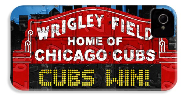 Cubs Win Wrigley Field Chicago Illinois Recycled Vintage License Plate Baseball Team Art IPhone 4 Case by Design Turnpike