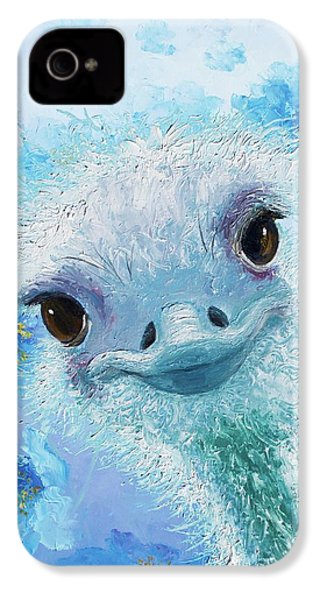 Curious Ostrich IPhone 4 Case by Jan Matson