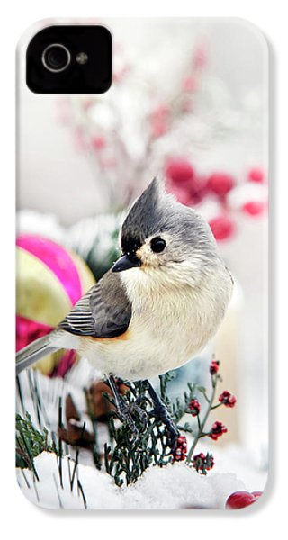 Cute Winter Bird - Tufted Titmouse IPhone 4 / 4s Case by Christina Rollo