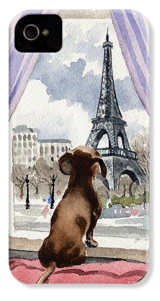 Dachshund In Paris IPhone 4 Case