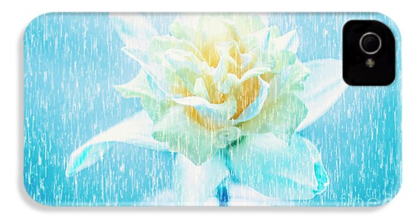 Daffodil Flower In Rain. Digital Art IPhone 4 Case