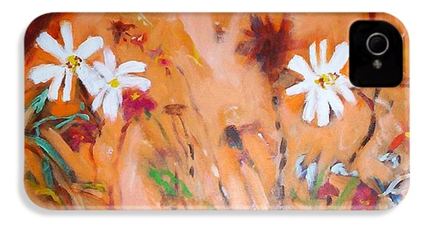Daisies Along The Fence IPhone 4 Case by Winsome Gunning