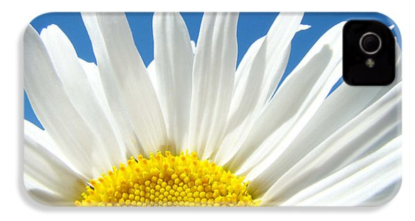 Daisy Art Prints White Daisies Flowers Blue Sky IPhone 4 Case by Baslee Troutman