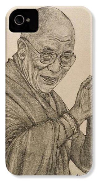 Dalai Lama Tenzin Gyatso IPhone 4 Case by Kent Chua