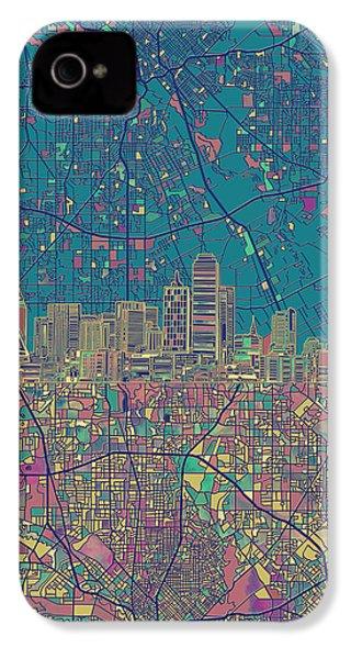 Dallas Skyline Map Green IPhone 4 Case