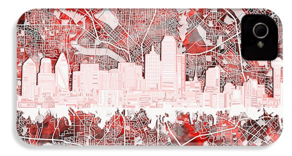 Dallas Skyline Map Red 2 IPhone 4 Case