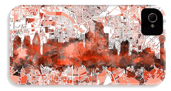 Dallas Skyline Map Red IPhone 4 Case