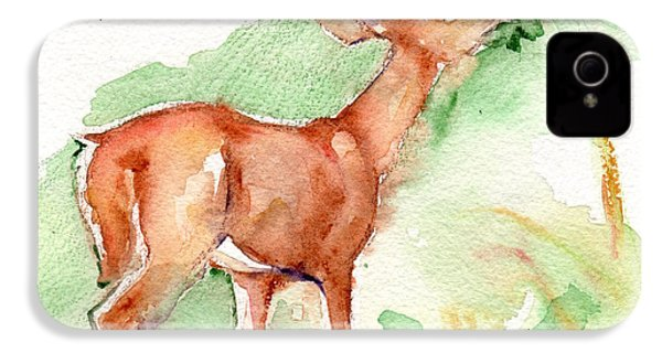 Deer Painting In Watercolor IPhone 4 Case by Maria's Watercolor