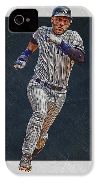 Derek Jeter New York Yankees Art 3 IPhone 4 / 4s Case by Joe Hamilton
