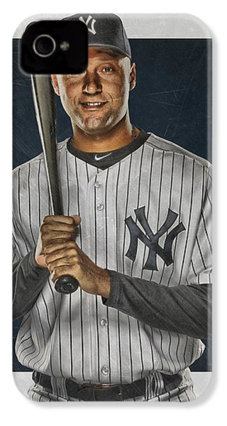 Derek Jeter New York Yankees Art IPhone 4 / 4s Case by Joe Hamilton