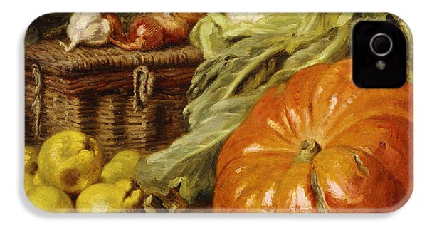 Detail Of A Still Life With A Basket, Pears, Onions, Cauliflowers, Cabbages, Garlic And A Pumpkin IPhone 4 Case by Eugene Claude