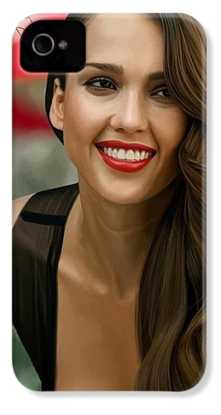 Digital Painting Of Jessica Alba IPhone 4 Case by Frohlich Regian
